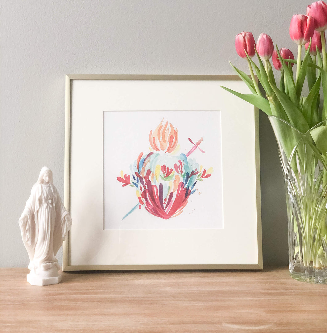 Watercolor Immaculate Heart Print