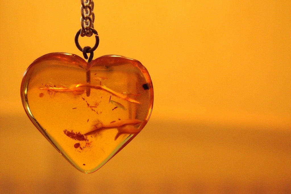 Baltic Amber In The Shape Of Heart