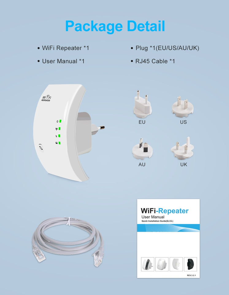 WiFi Booster & Range Extender - Wireless Standard 802.11n / g / b - Transmission Speed of 300mbps - Extends Wi-Fi to Smart Home & Alexa Devices