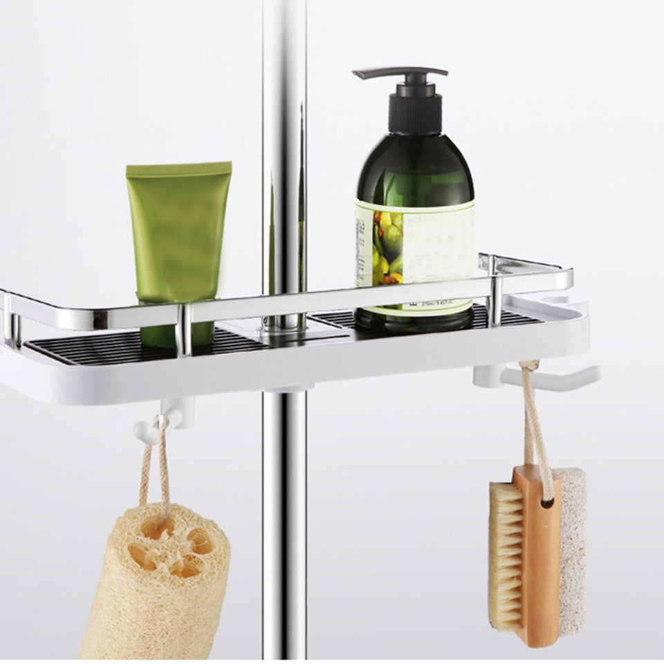 Practical Bathroom Pole Shower Tray Holder Washing Shampoo Basket Bathroom Storage