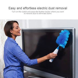 Electric Feather Duster, Cleaning Brush, 360° Spin Dust Removal