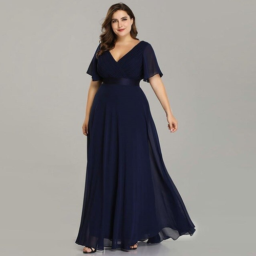 Plus Size V-Neck A-Line Chiffon Dress (Sizes 4-20)