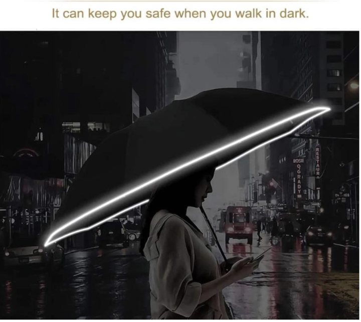 Led Inverted Umbrella with Reflective Stripe