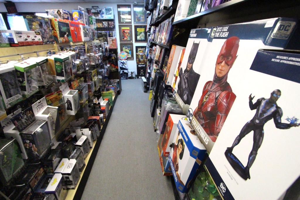 A close-up photo of large collectibles on display within the store.