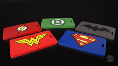 Thumbnail of Clockwise from top left: Flash, Green Lantern, Batman, Superman & Wonder Woman Q-Tags.