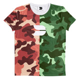 DISTINCTION LDN SPLIT CAMO TEE - GREEN & RED