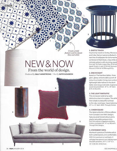 canadian house & home magazine january 2014 – pehr & petit pehr canada
