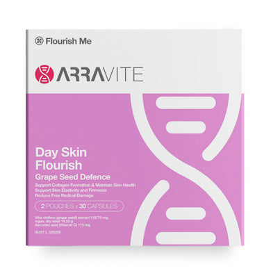 Arravite Day Skin Flourish Grape Seed Defence 2 Pouches x 30 Capsules