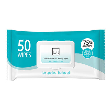 Blue Jacar Antibacterial Hand & Body Wipes 50 wipes*2 Packs