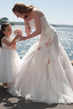 Unique Wedding Dresses Strapless Mermaid Ruffled Bodice With Handmade Flowers PZY766EG