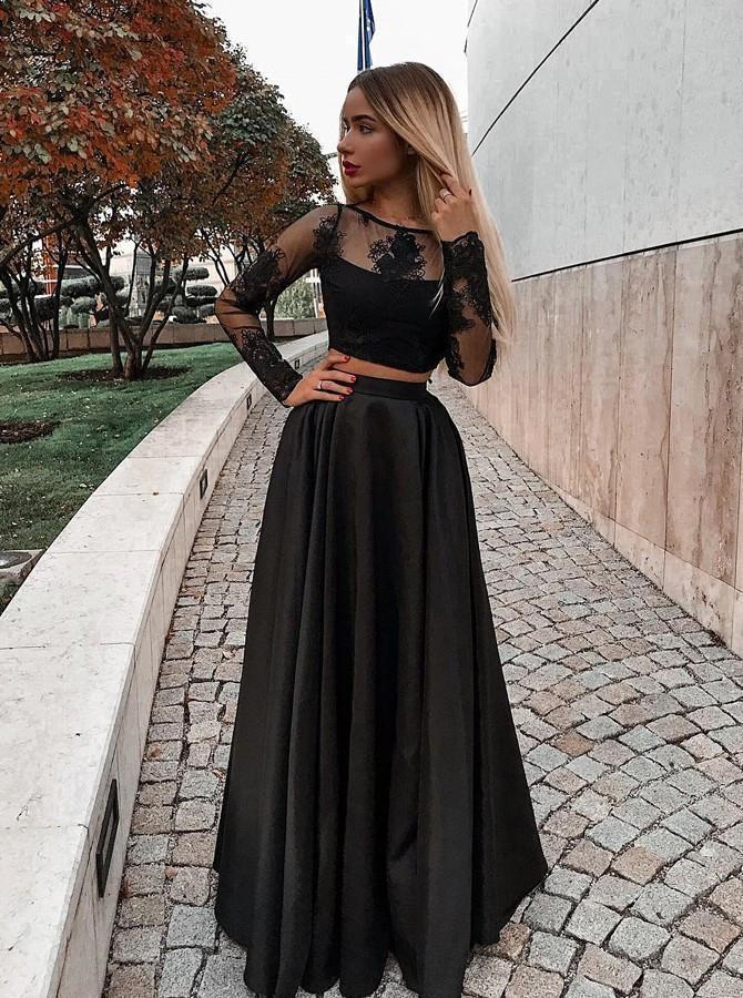 Two Piece Black Long Sleeve Scoop Jewel Appliques Prom Dresses with Satin