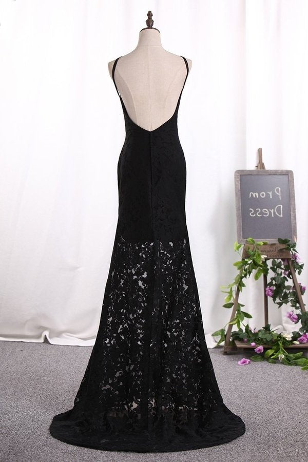 Sexy Sheath Black Prom Dresses Spaghetti Straps PD3JGE49