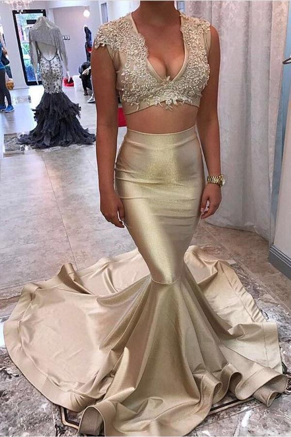 Two Piece V-Neck Court Train Sleeveless Gold Satin Appliques Sleeveless Prom Dresses