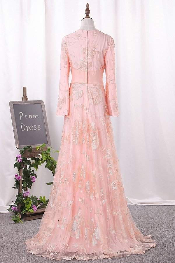 2020 Scoop Long Bell Sleeves Prom Dresses A Line P49N9XFY