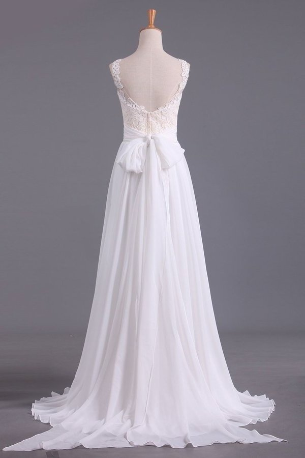 Sexy Open Back Scoop With Applique And Sash Wedding Dresses A Line Chiffon PNRYQS7S