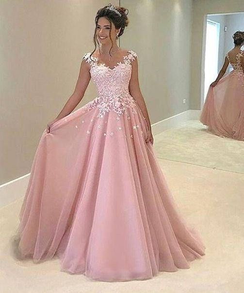 Princess pink organza lace A-line long prom dress with straps for