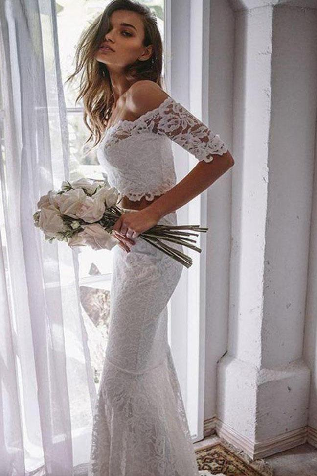 2 Pieces Ivory Lace Mermaid Off the Shoulder Wedding Dresses, Beach Wedding Gowns STI14986