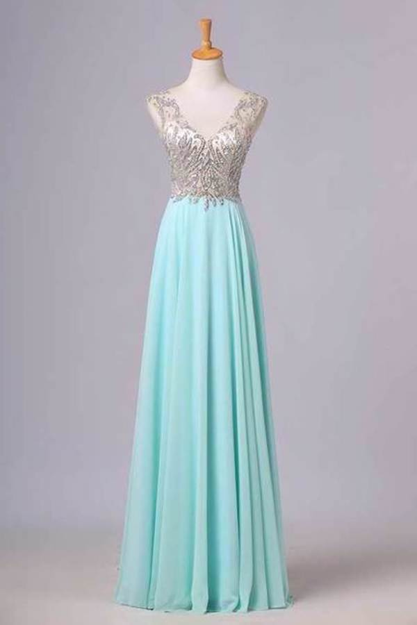 V Neck Prom Dresses A Line Beaded Bodice Sweep Train Chiffon PZRC36J5