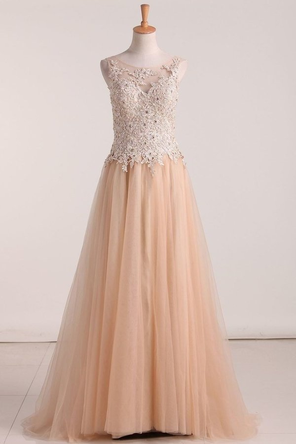 Bateau With Applique And Beads Tulle Floor Length Evening PBTSG5ZJ