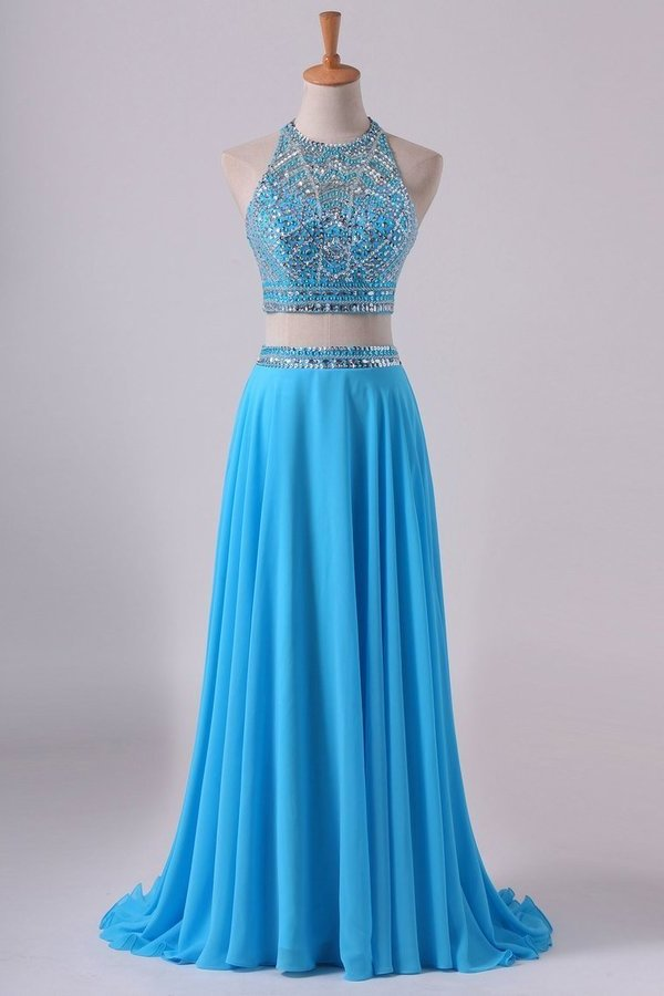 Two-Piece A Line Prom Dresses Beaded Bodice Open Back Chiffon PTDR46S4