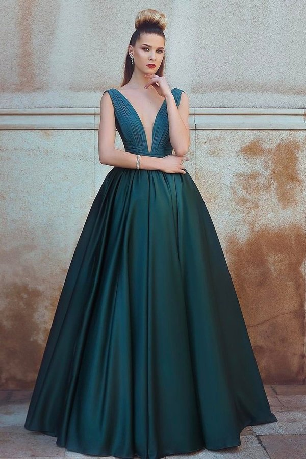 V Neck Satin Prom Dresses With Ruffles Bodice P7GBS5SQ