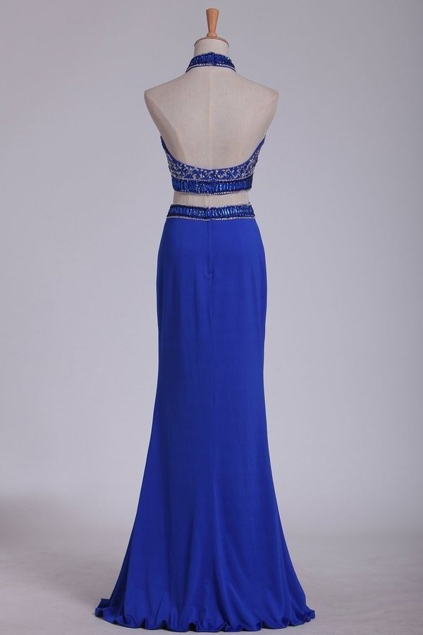 Two Pieces Halter Prom Dresses Beaded Bodice PD6N39JJ