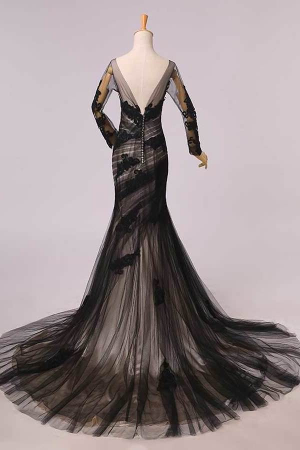 Elegant Evening Dresses Mermaid Black Scoop Tulle With Applique Chic Mother Of Bridal P98ZSFBH