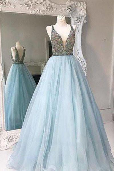 Unique V-neck tulle sequin beading long prom gown evening dresses
