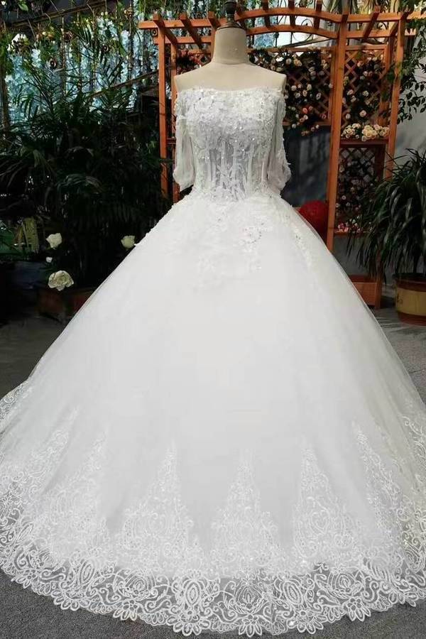 Gorgeous Floor Length Lace Up Wedding Dresses With Appliques And Sequins Middle-Length PMZ9YH83