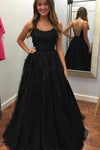 Spaghetti Straps Floor Length Prom Dress With Appliques Long Evening Dress Lace PA6CS21D