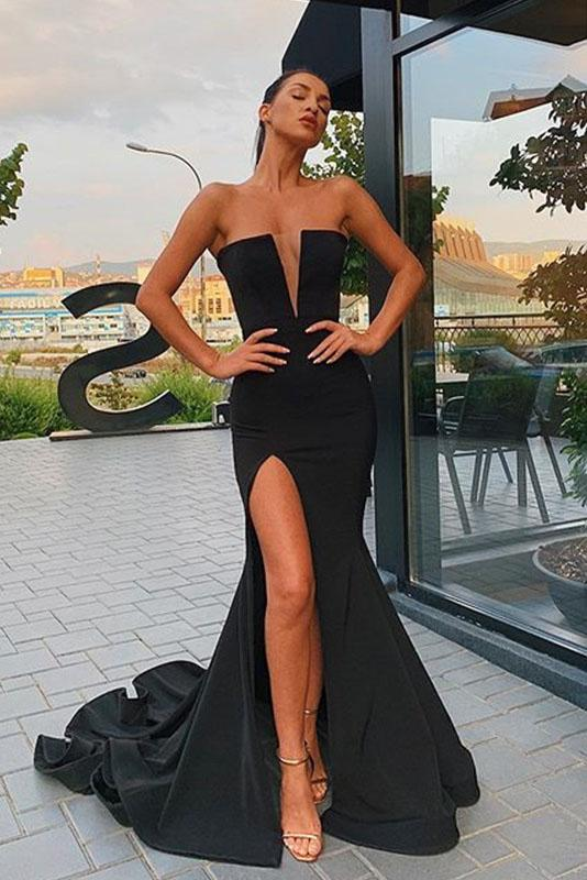 Sexy Black Mermaid V Neck Strapless Prom Dresses with Slit, Evening STI15663