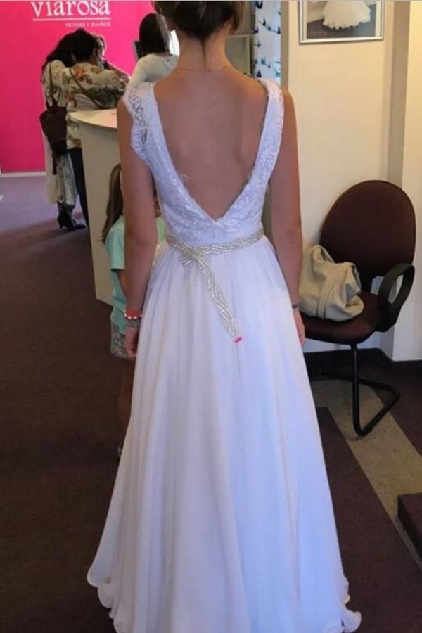 Chiffon Straps A Line Wedding Dresses With Applique And Beads P1N5R9KT