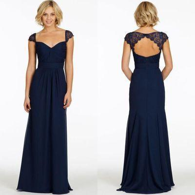 Sexy A-Line Sweetheart Cap Sleeve Lace Open Back Navy Blue Long Bridesmaid Dresses