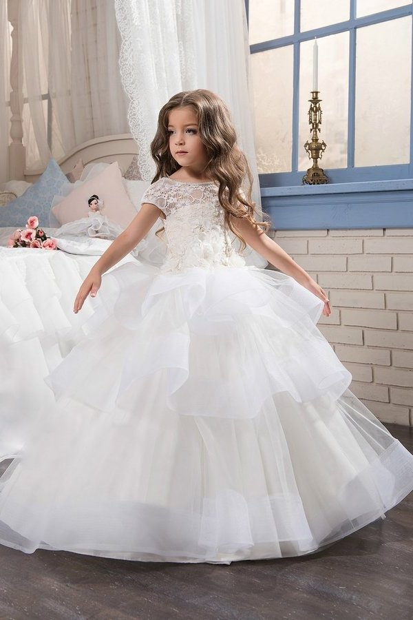 Flower Girl Dresses Ball Gown Scoop Short Sleeves Tulle With PX1YGPSY
