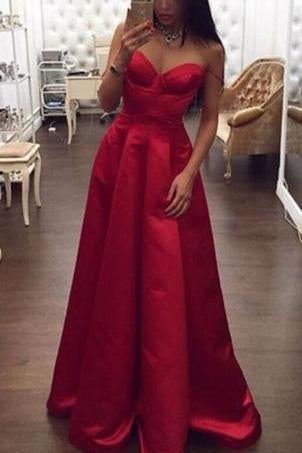Spaghetti Straps High Low Red A-line Plus Size Women Dresses Simple Cheap Prom Dresses