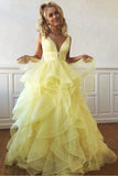 A Line Yellow Multi-layered Polka Dot Organza Prom Dresses Long Sweet 16 STI20388
