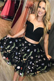 Black Two Piece Off Shoulder A Line Homecoming Dresses PEMR3MSS