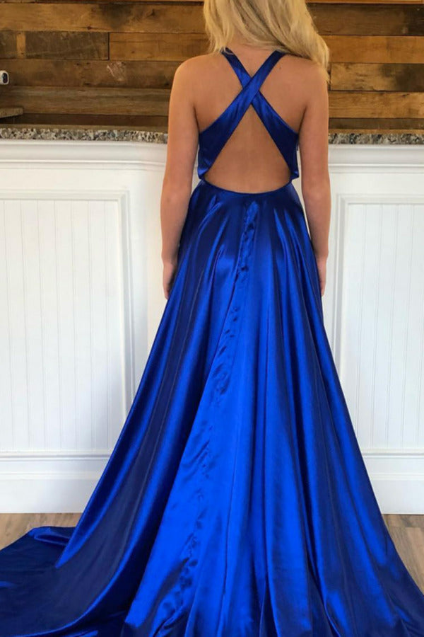 V Neck A Line Prom Dresses Sweep Train Slit Ruffles PY7L3FS3
