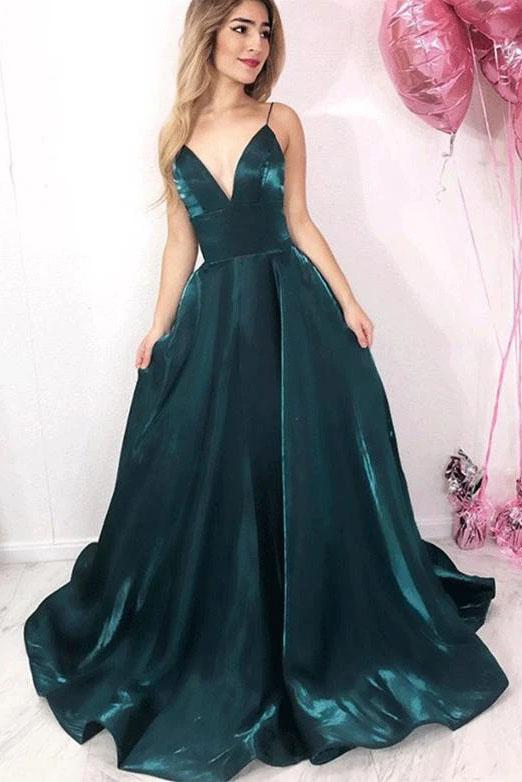 Long Green Spaghetti Straps V Neck Satin Prom Dresses, Evening Party STI15650