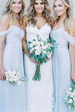Mismatched Different Styles Chiffon Light Blue A Line Floor-Length Cheap Bridesmaid Dress
