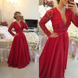 Open Back Lace Long Sleeve Deep V-Neck A-Line Button Long Cheap Prom Dresses