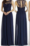 Round Neckline Illusion Lace Top Chiffon A-line Popular Open Back Bridesmaid Dresses