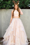 Two Piece A-line High Neck Beads Organza Long Sparkly Chic Evening Prom Dresses