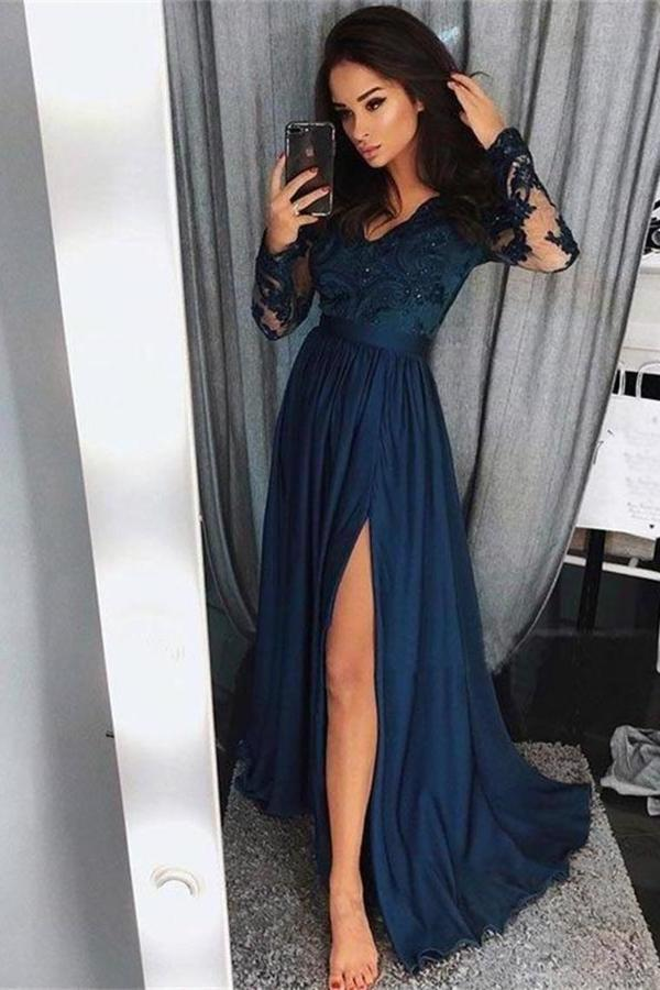 Pretty Long Sleevesl Navy Blue Lace Front Split Prom Dresses PXCJ413H