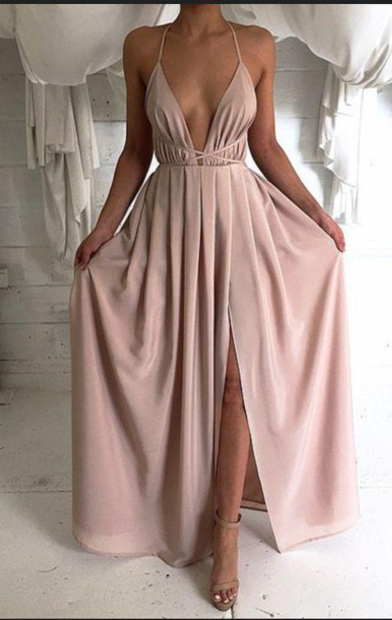 New Style Sexy Backless Long V-Neck Halter Sleeveless Simple Cheap Pink Prom Dresses
