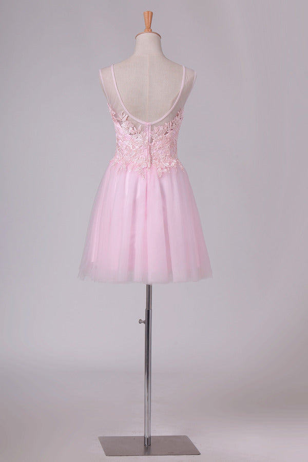 A Line Scoop Tulle With Embroidery Short/Mini Homecoming PTZQH9ML