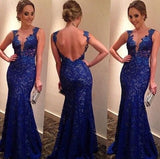 Mermaid Royal Blue Lace Charming Prom Dresses Long Evening Dresses Prom Dresses On Sale