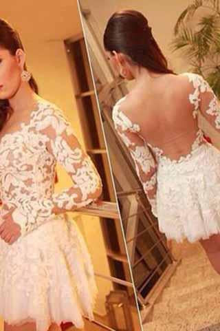 Sexy See Through Long Sleeve Lace Sexy White Appliques Homecoming Dresses