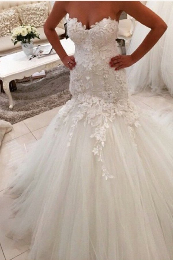 Sweetheart Wedding Dresses Tulle Mermaid/Trumpet PXJZKR37