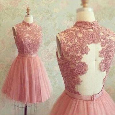 Short Prom Dresses High Neck Sleeveless Tulle Pink Lace Homecoming Dress
